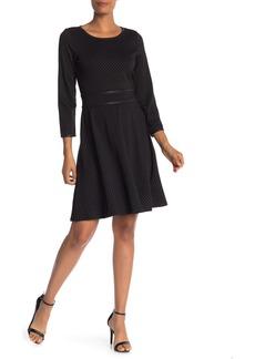 Max Studio Pin Dot 3/4 Sleeve Dress