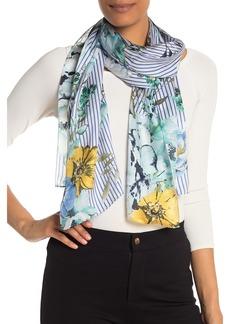Max Studio Pinstripe Floral Print Silk Oblong Scarf