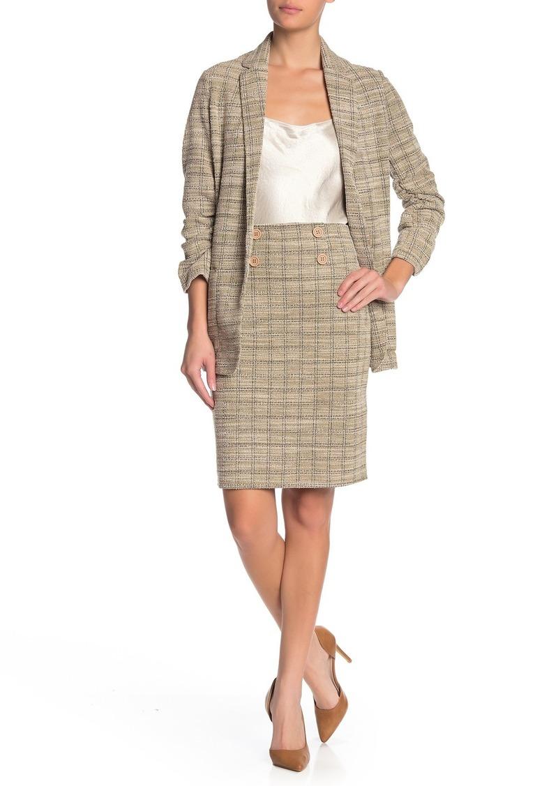 Max Studio Plaid Boucle Knit Pull-On Pencil Skirt