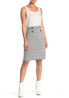 Max Studio Plaid Knit Button Pencil Skirt