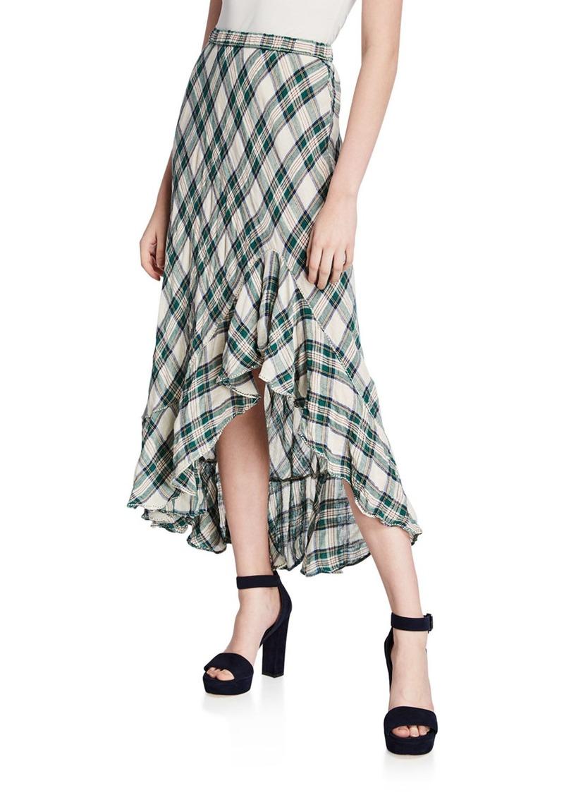 Max Studio Plaid Linen Maxi Skirt