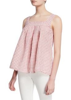 Max Studio Plaid Linen Tank