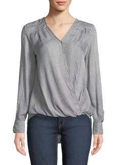 Max Studio Plaid Long-Sleeve Wrap Top
