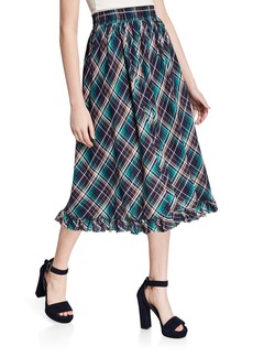 Max Studio Plaid Ruffle A-Line Midi Skirt