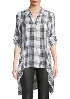 Max Studio Plaid Tab-Sleeve High-Low Tunic