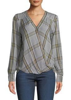Max Studio Plaid Wrap Shirttail Blouse