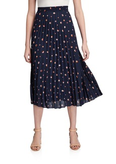 Max Studio Pleated Circle Print Midi Skirt