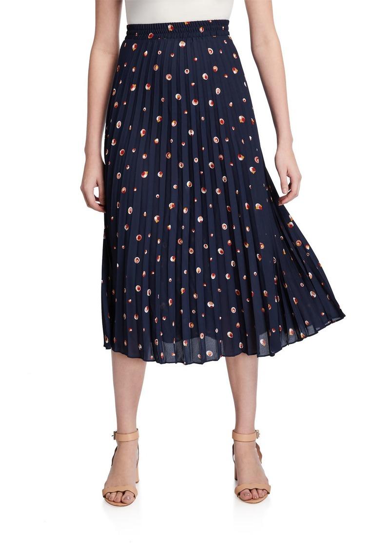 Max Studio Pleated Circle Print Midi Skirt