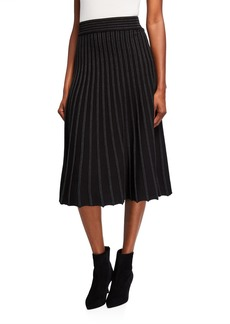 Max Studio Pleated Midi Skirt