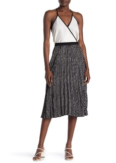 Max Studio Pleated Patterned Midi Skirt