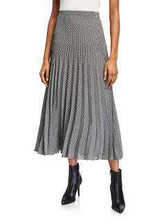 Max Studio Pleated Polka Dot Print Midi Skirt