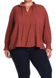 Max Studio Pleated Split Neck Blouse