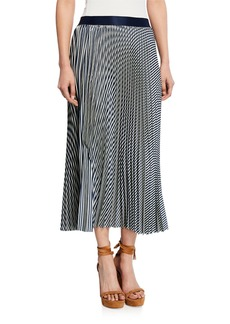 Max Studio Pleated Striped Midi Skirt