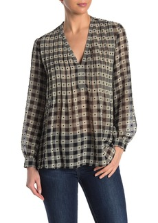 Max Studio Pleated Swiss Dot V-Neck Blouse