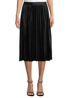 Max Studio Pleated Velvet A-Line Skirt