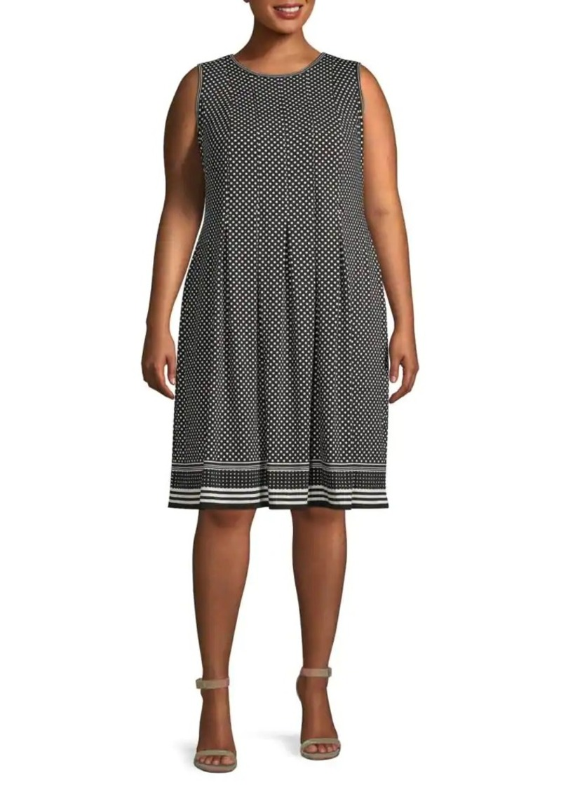 Max Studio Plus Dot-Print Pleated Knee-Length Dress