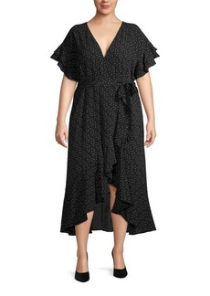 Max Studio Plus Printed Ruffle Wrap Dress