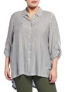 Max Studio Plus Size Striped Long-Sleeve Button -Front Shirt