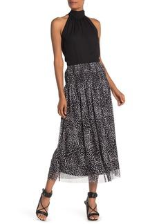 Max Studio Polka Dot Mesh Midi Skirt