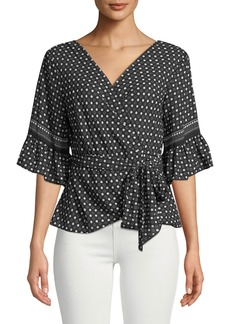 Max Studio Polka-Dot Ruffle-Sleeve Wrap Top