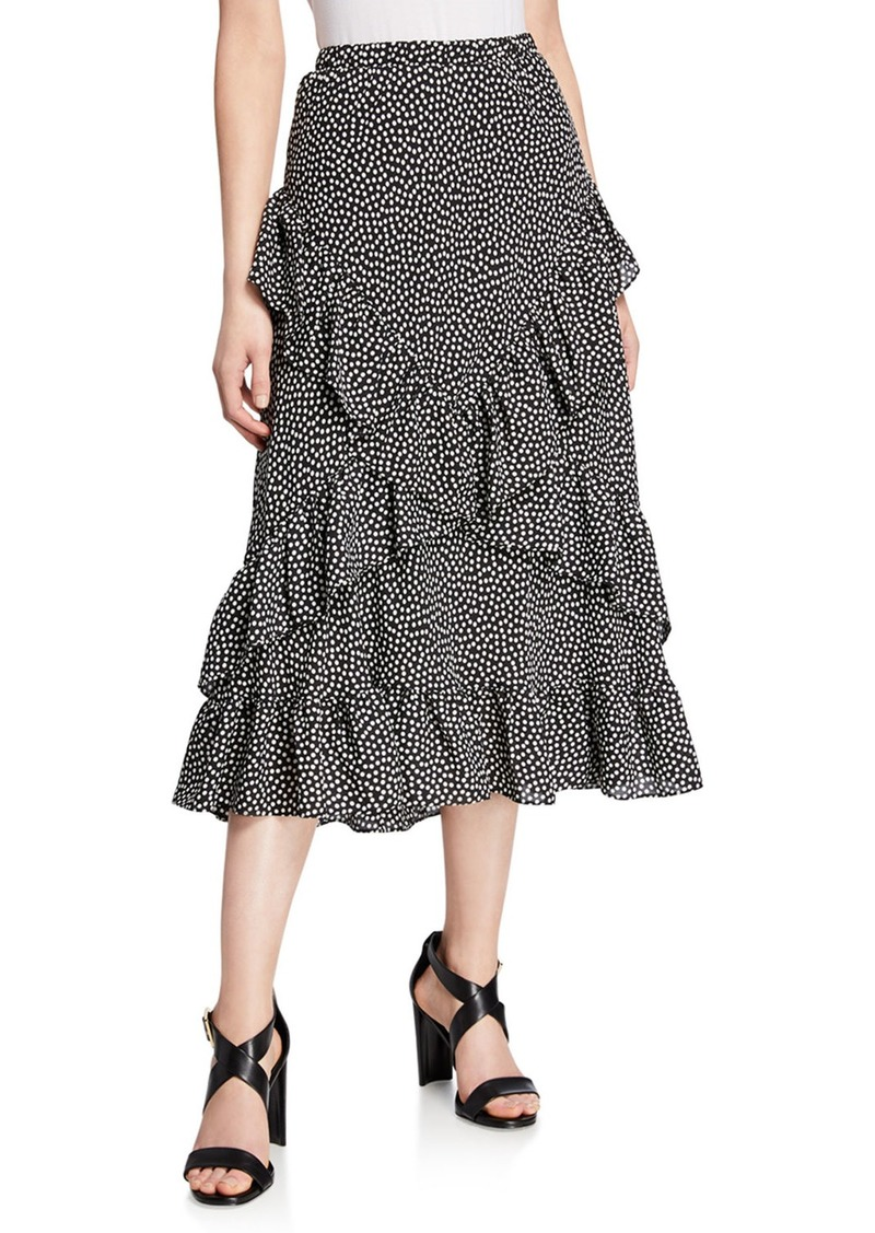 Max Studio Polka Dot Ruffle Tiered Midi Skirt