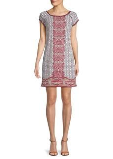 Max Studio Printed Cap-Sleeve Shift Dress