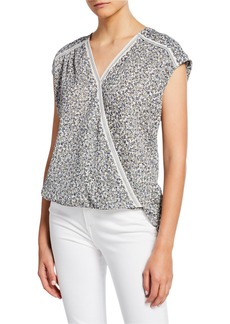 Max Studio Printed Cap-Sleeve Shirttail Top