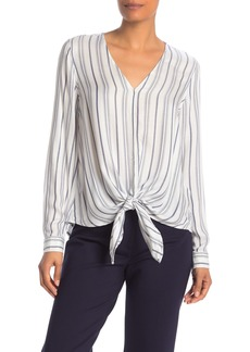 Max Studio Printed Knotted Tie-Hem Blouse