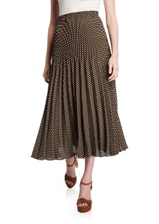 Max Studio Printed Long Pleated Midi Skirt