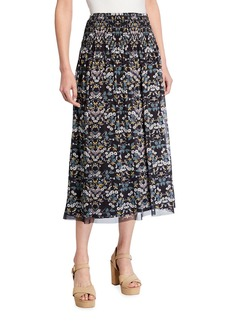 Max Studio Printed Mesh Smocked-Waist Midi Skirt