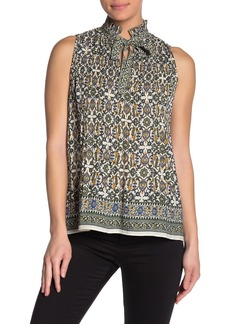 Max Studio Printed Neck Tie Blouse