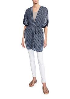 Max Studio Printed Panel Shawl Kimono w/ Tie