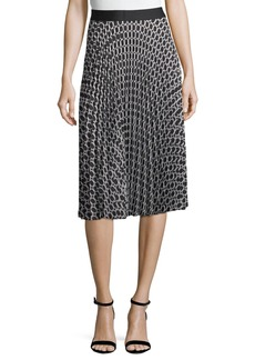 Max Studio Printed Pleated A-Line Skirt