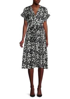 Max Studio Printed Ruffle Flutter-Sleeve Midi Dress