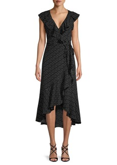 Max Studio Printed Ruffle Wrap Dress