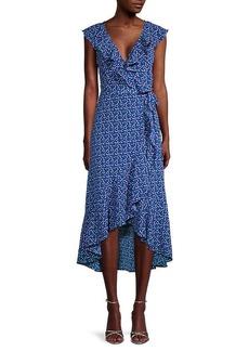 Max Studio Printed Ruffle Wrap Dress