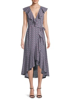 Max Studio Printed Ruffled Wrap Dress