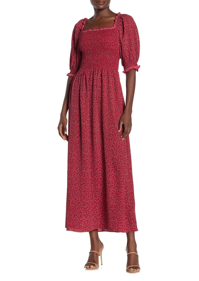 Max Studio Printed Smocked Maxi Dress