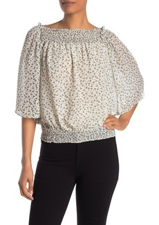 Max Studio Printed Smocked Top