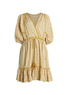 Max Studio Puff-Sleeve Gingham Peasant Dress