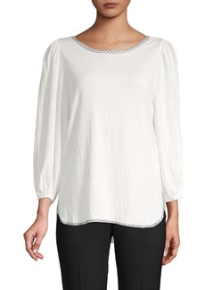 Max Studio Puffed-Sleeve Textured Top