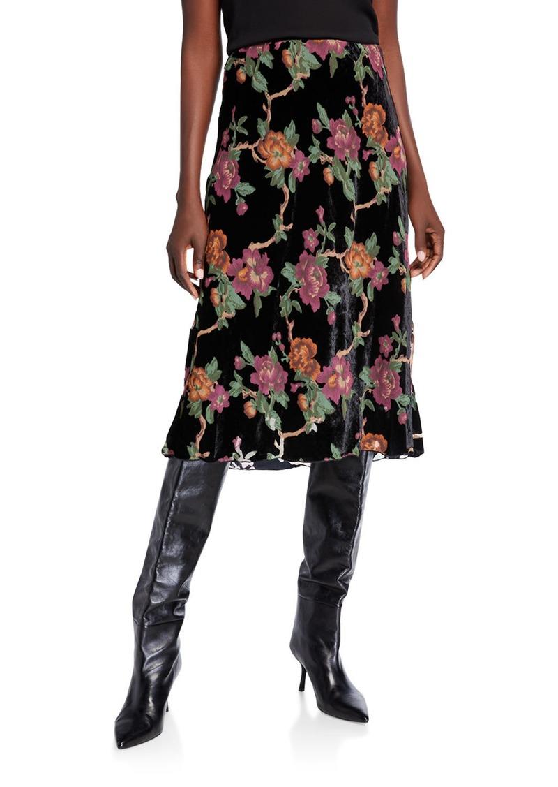 Max Studio Pull-On Bias-Cut Flocked Velvet Skirt