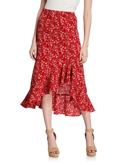 Max Studio Raised Floral Flounce Maxi Skirt