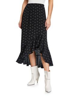 Max Studio Raised Flounce High-Low Skirt
