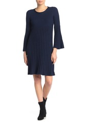 Max Studio Rib Knit Bell Sleeve Sweater Dress