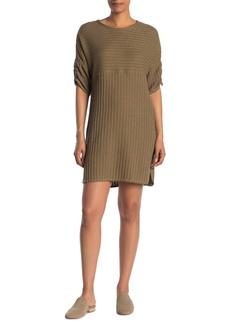 Max Studio Rib Knit Ruche Sleeve Dress