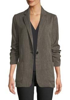 Max Studio Ruched Sleeve Long Blazer