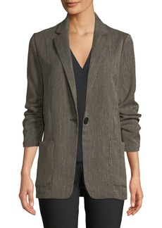 Max Studio Ruched Sleeve Long Blazer