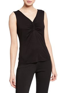 Max Studio Ruched V-Neck Sleeveless Knit Top