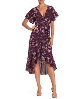 Max Studio Ruffle Crepe High/Low Wrap Dress